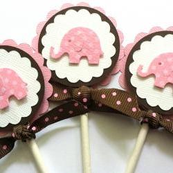 Cupcake Toppers, Baby Shower Cupcake Toppers, Baby Girl Birthday Cupcake Toppers